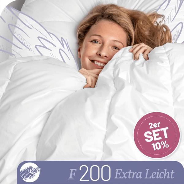 2er Set- Faserbettdecke Schlafstil F200, Extraleicht, 3D-Hohlfaser