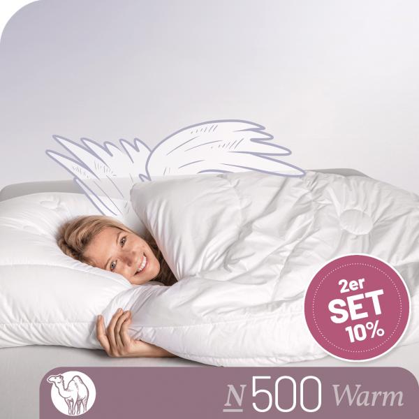 2er Set - Kamelhaarbettdecke Schlafstil N500, Warm, feinster Kamelhaar Flaum 100 % Kamelhaar